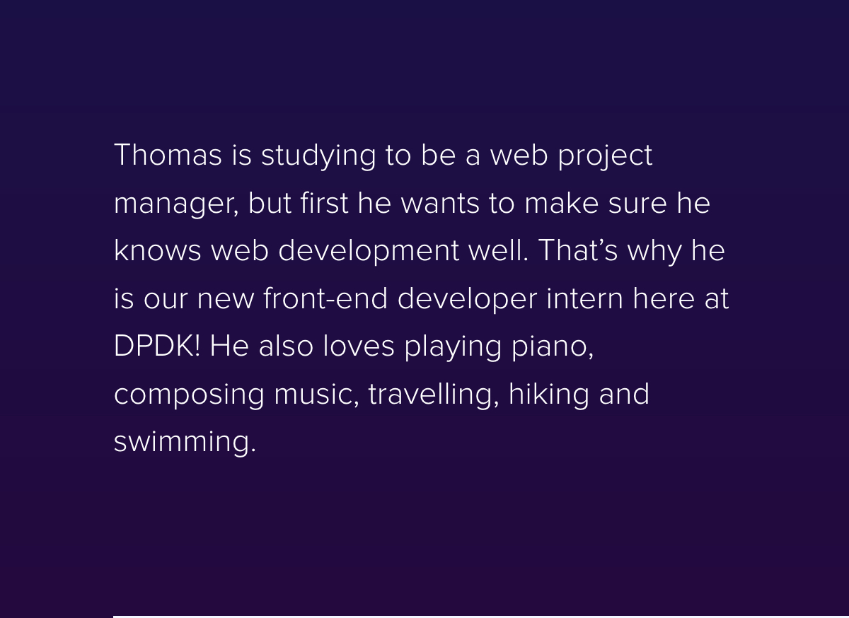 New to the Team: Thomas Pericoi - Frontend developer